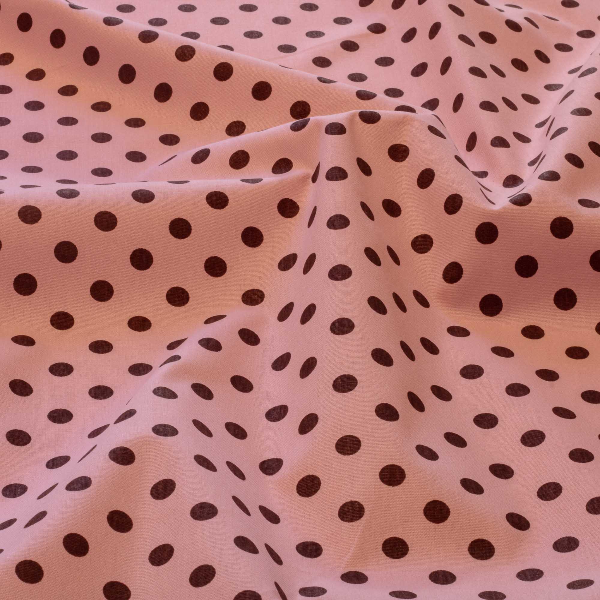 Tecido estampado poa bolinha tricoline fundo 100% algodão fundo rosa bola marrom