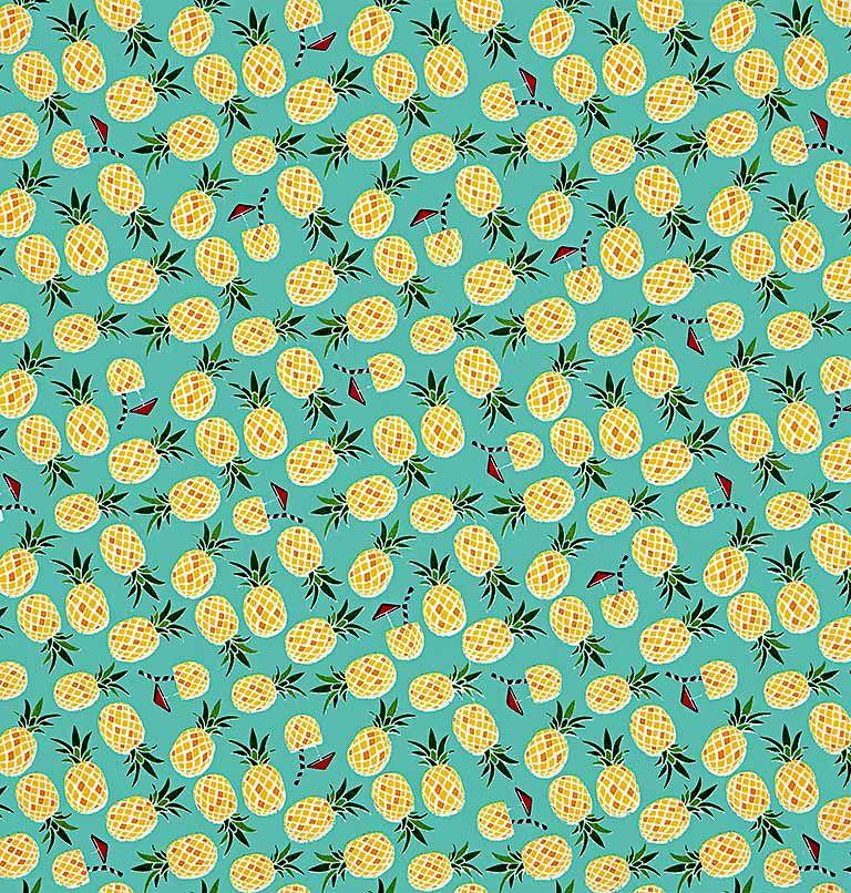 Tecido tricoline estampado dohler 100% algodão abacaxi
