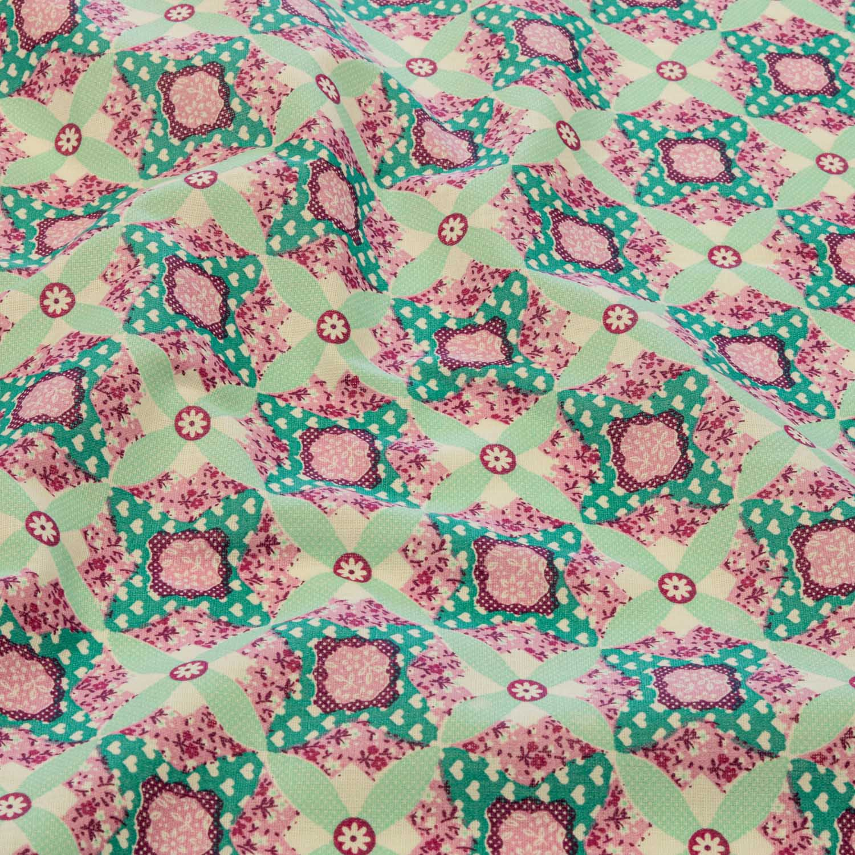 Tecido Tricoline Estampado Arabesco 1 Metro Verde Tiffany