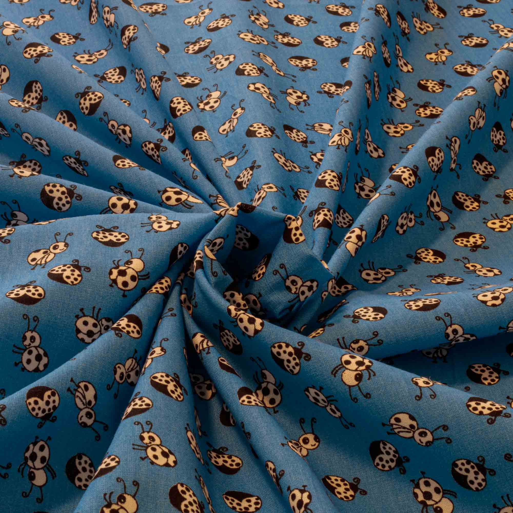 Tecido Tricoline Estampado Joaninha 100% Algodao Azul