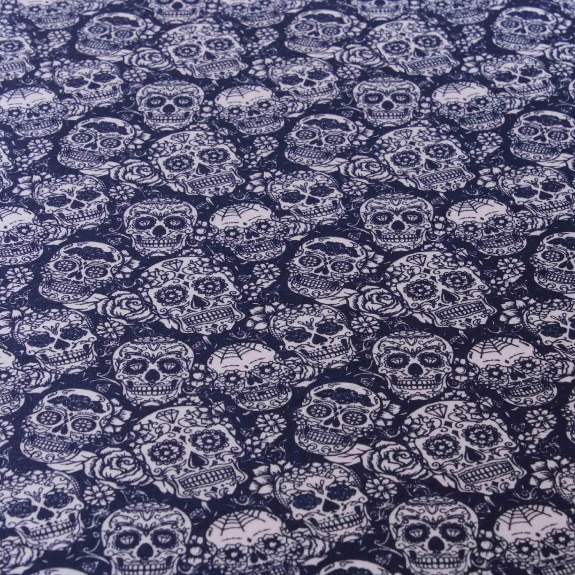 Tecido tricoline estampado caveira 100% algodão marinho