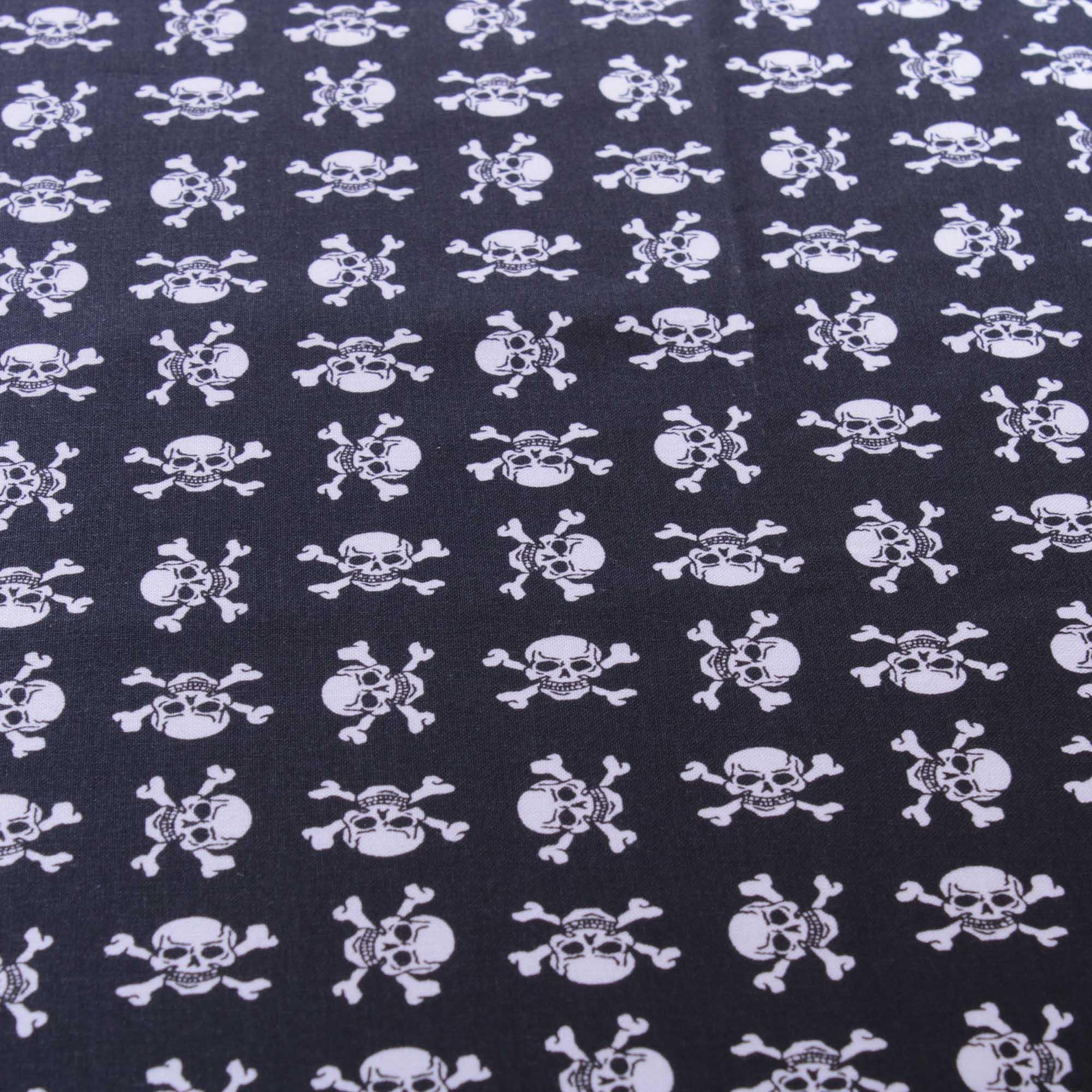 Tecido tricoline estampado caveira 100% algodão preto