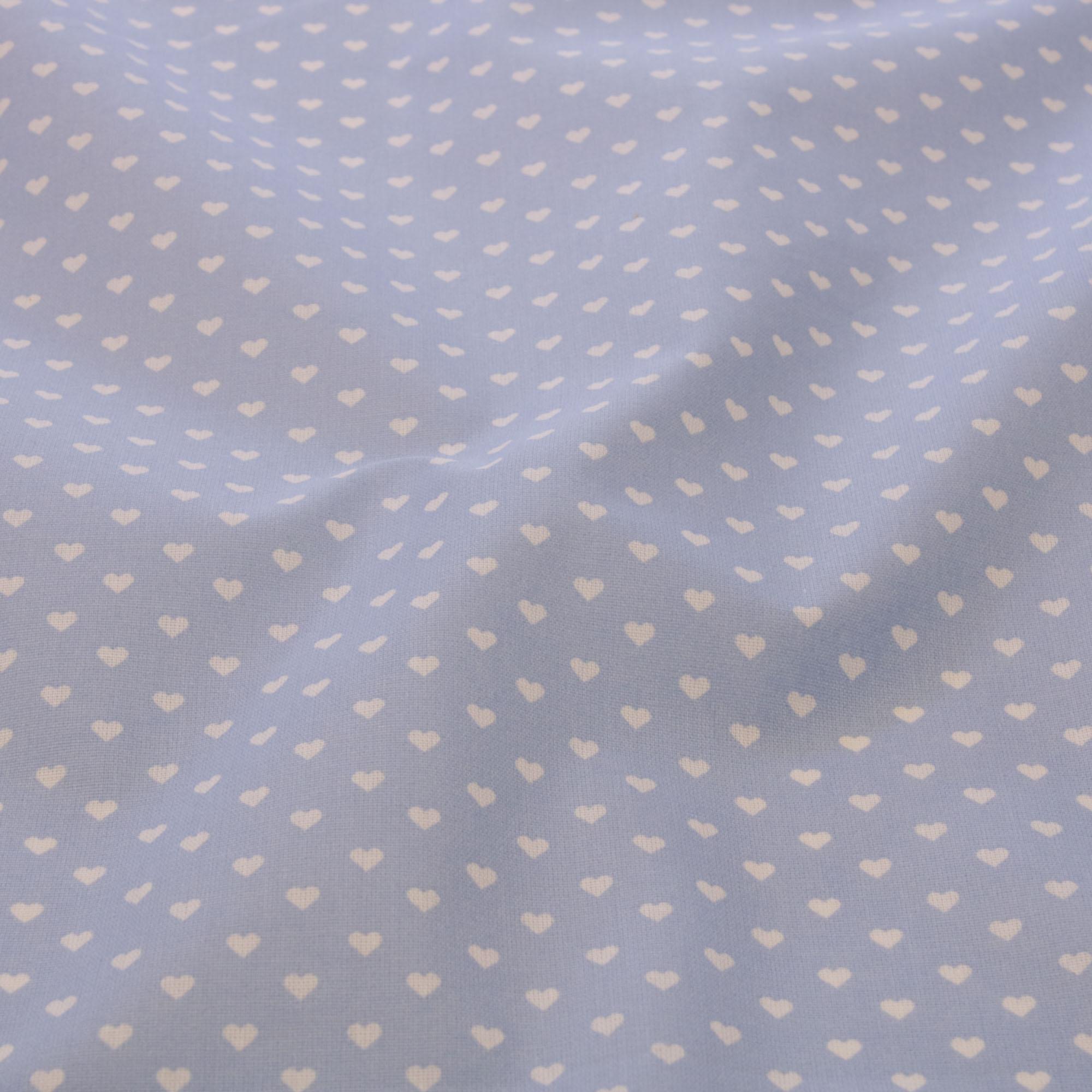 Tecido tricoline estampado coracao 1,40 m largura azul claro