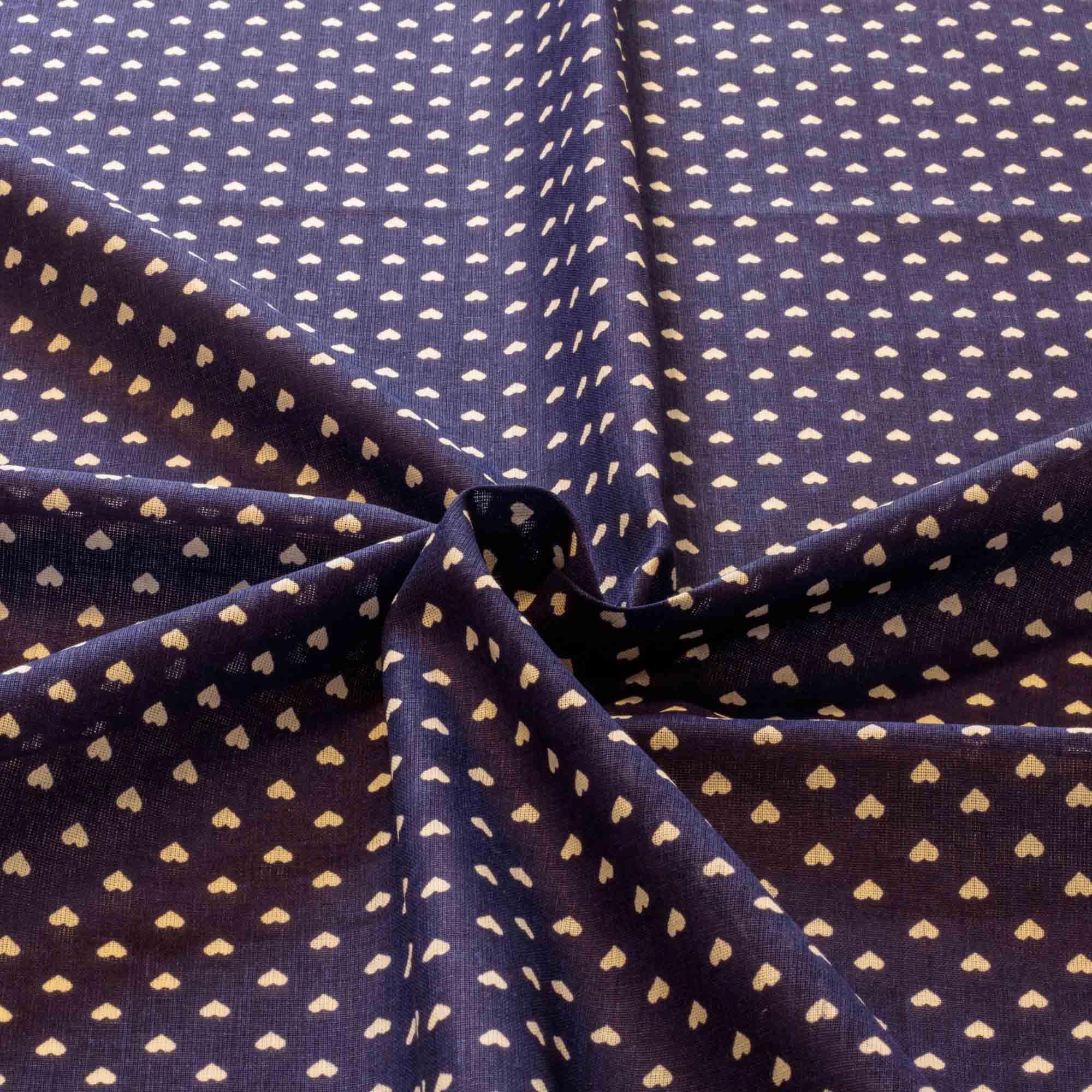 Tecido tricoline estampado coração 1,40 m largura azul royal