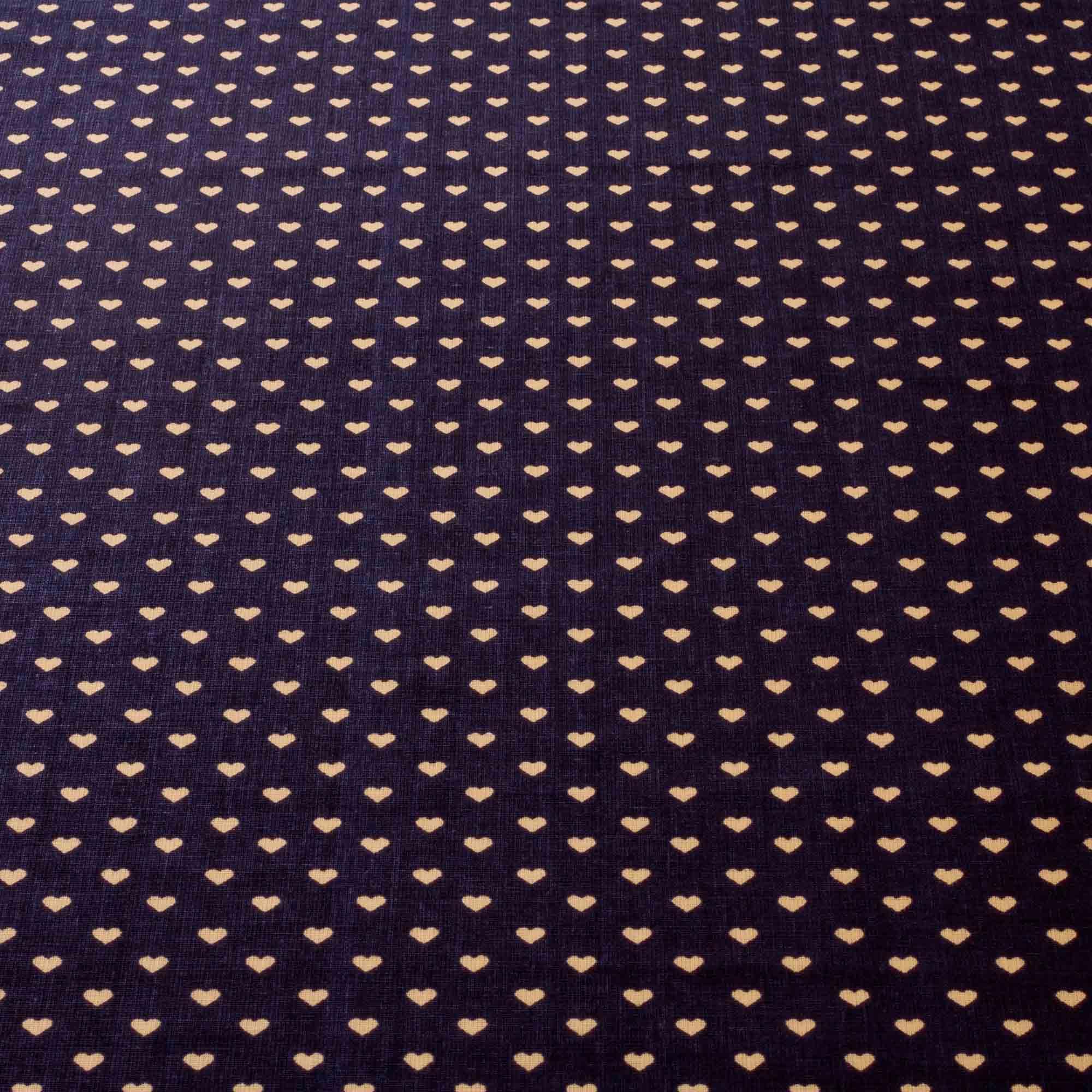 Tecido tricoline estampado coração 1,40 m largura marinho