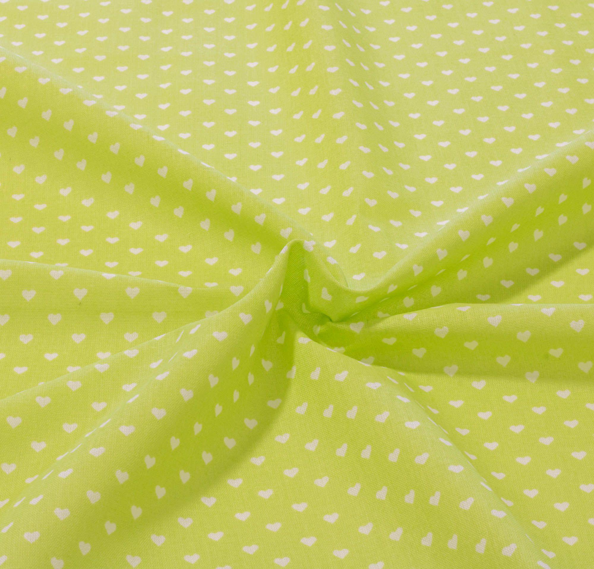 Tecido tricoline estampado coração 1,40 m largura verde