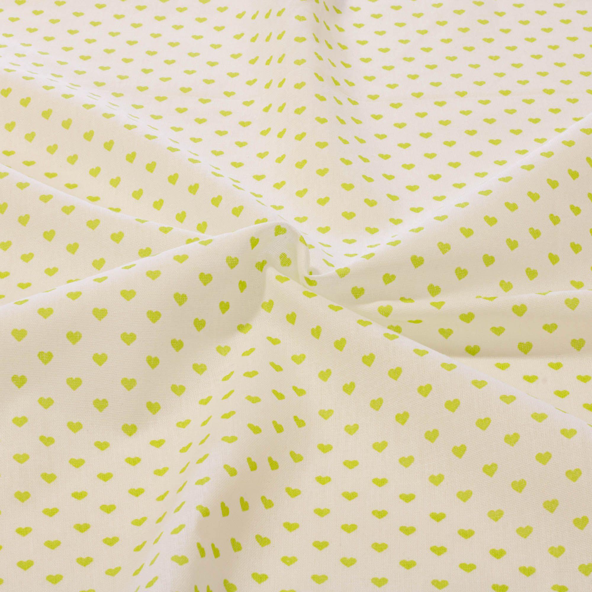 Tecido tricoline estampado coração verde 1,40 m largura