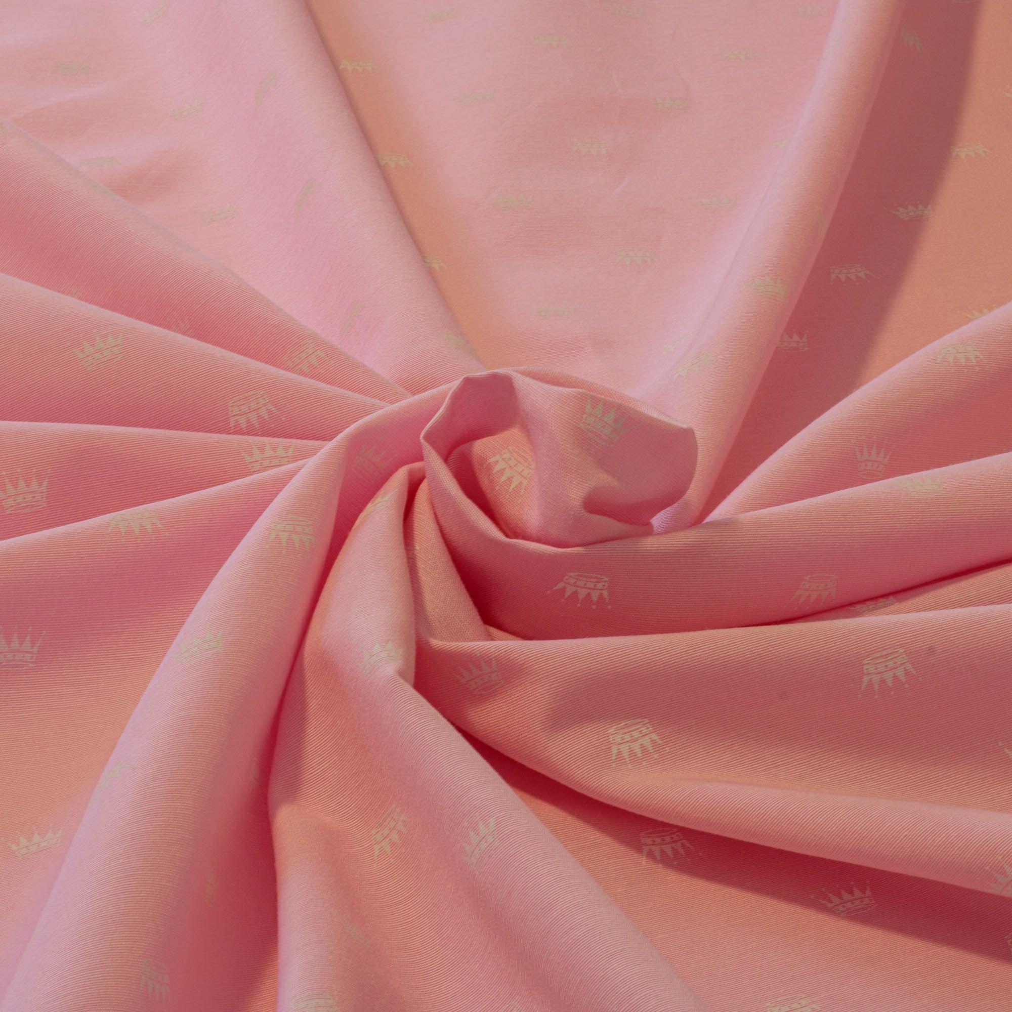 Tecido tricoline estampado coroa 100% algodão rosa