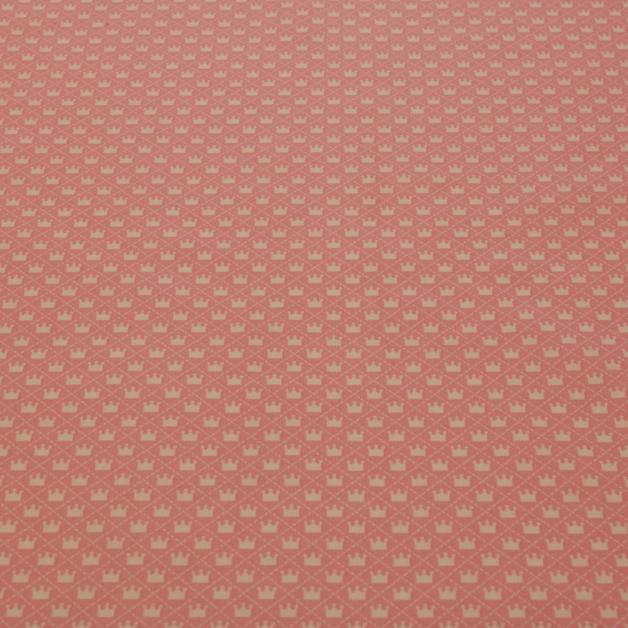Tecido tricoline estampado coroa 1,40 m largura rosa