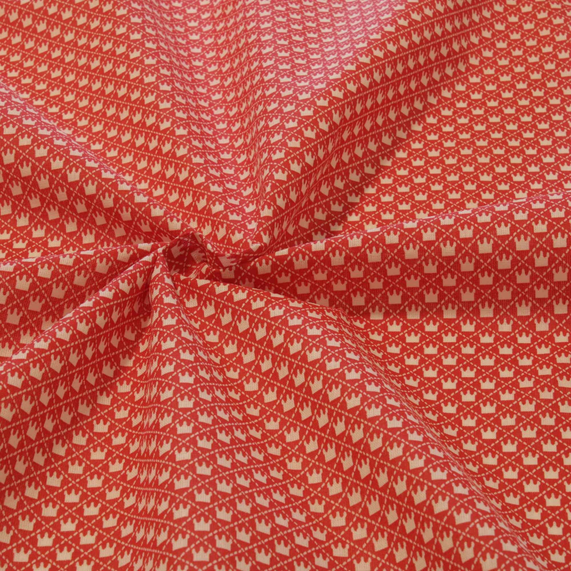 Tecido tricoline estampado coroa 1,40 m largura vermelho
