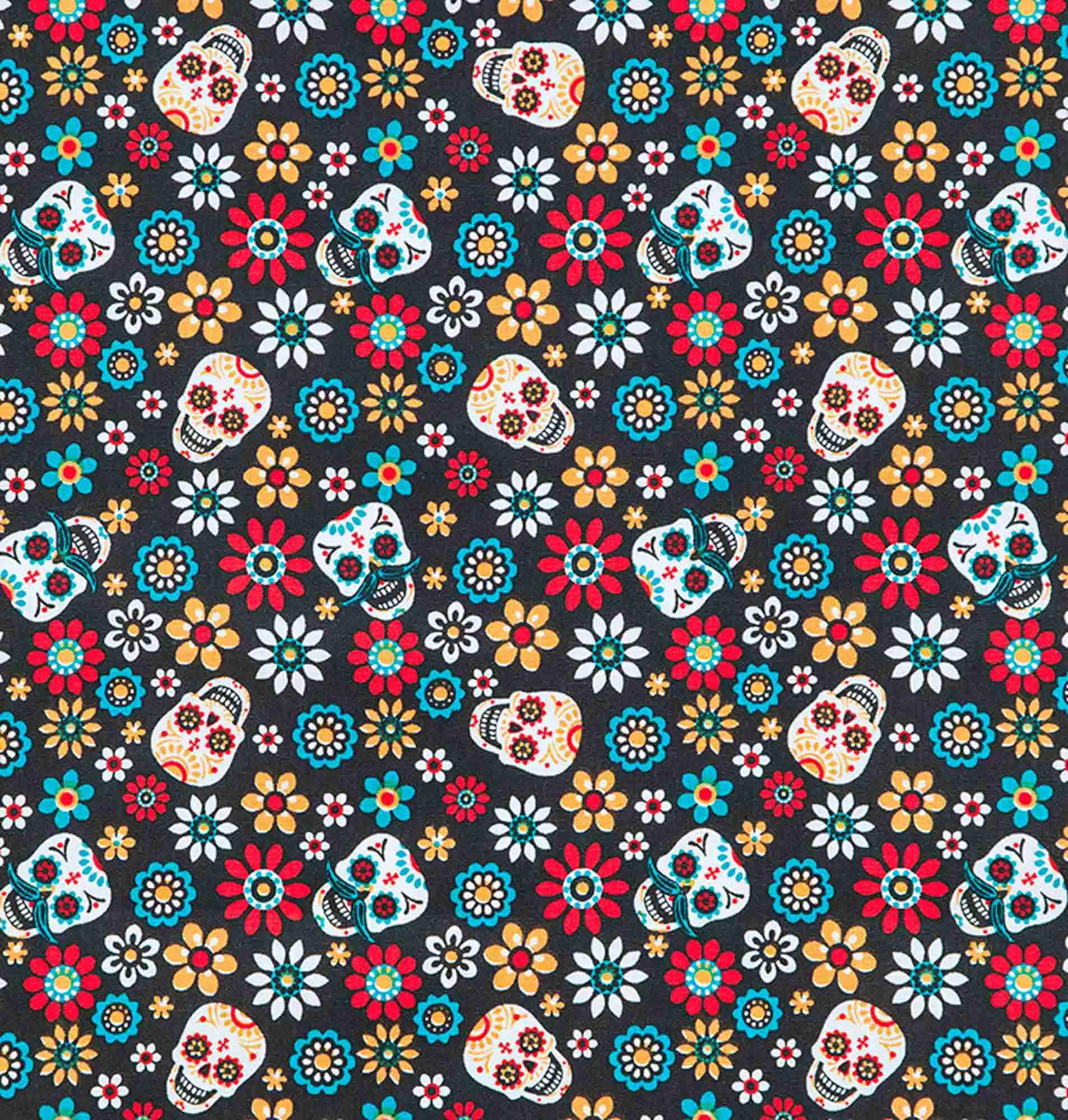 Tecido tricoline estampado dohler 100% algodão caveira colorida