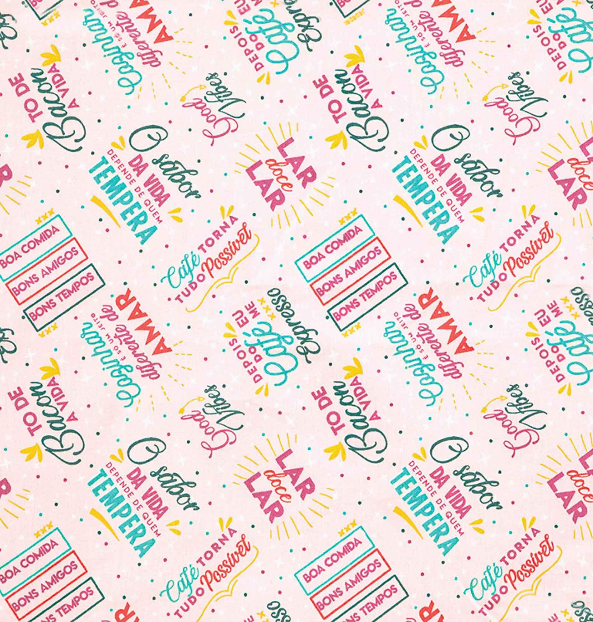 Tecido tricoline estampado dohler 100% algodão dizeres rosa/bebê