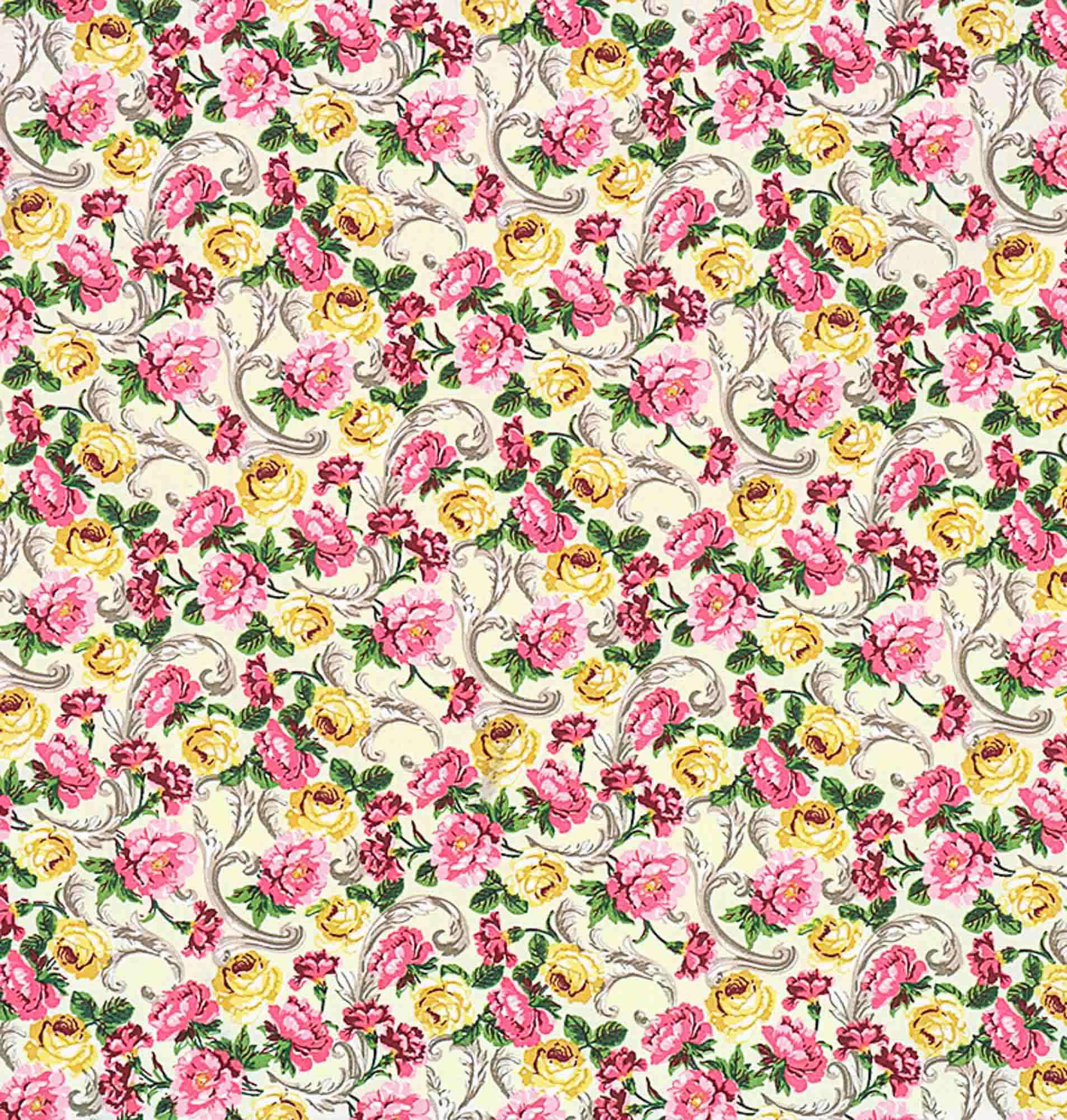 Tecido tricoline estampado dohler 100% algodão flores
