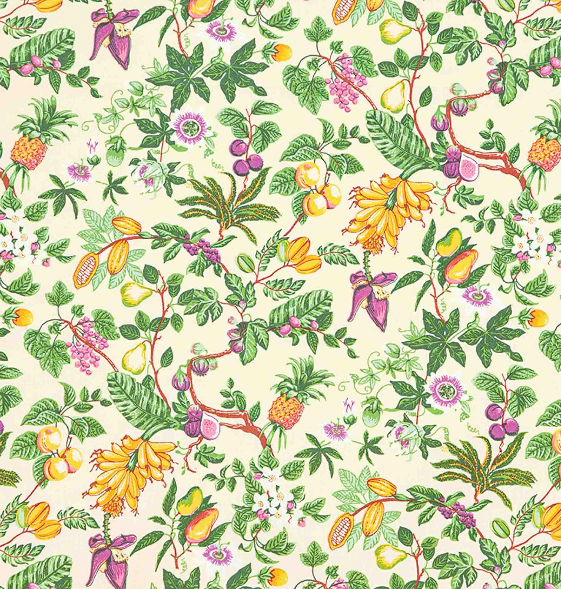 Tecido tricoline estampado dohler 100% algodão flores e folhas