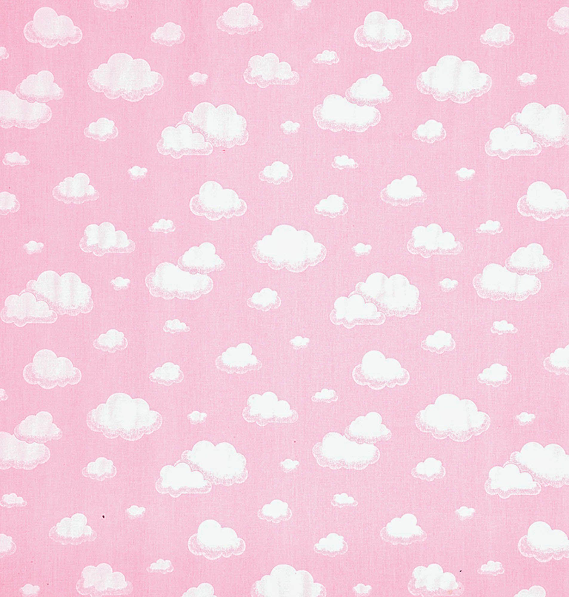 Tecido tricoline estampado dohler 100% algodão nuvem rosa