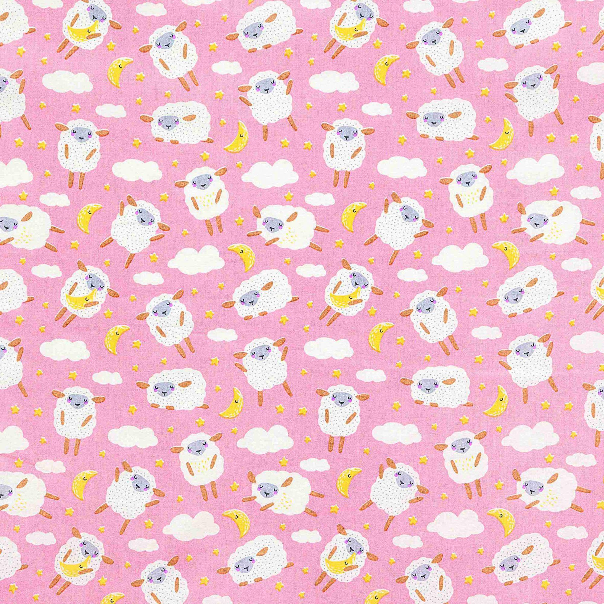 Tecido tricoline estampado dohler 100% algodão ovelha rosa