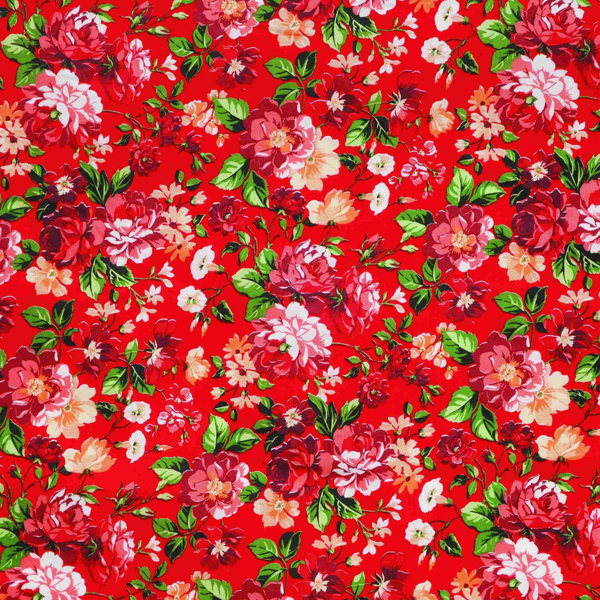 Tecido tricoline estampado flores 100% algodão vermelho