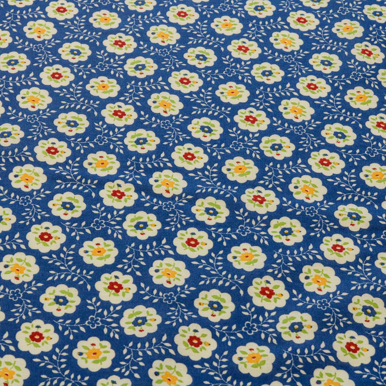 Tecido Tricoline Estampado Flores 1,40 m Largura Azul Royal