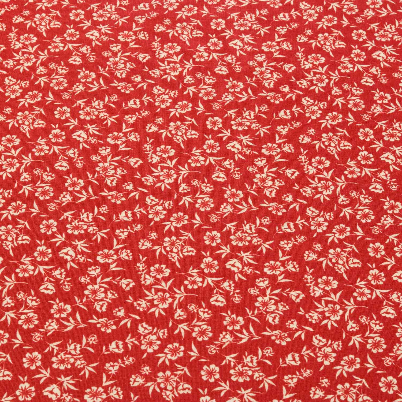 Tecido Tricoline Estampado Flores 1,40 m Largura Vermelho