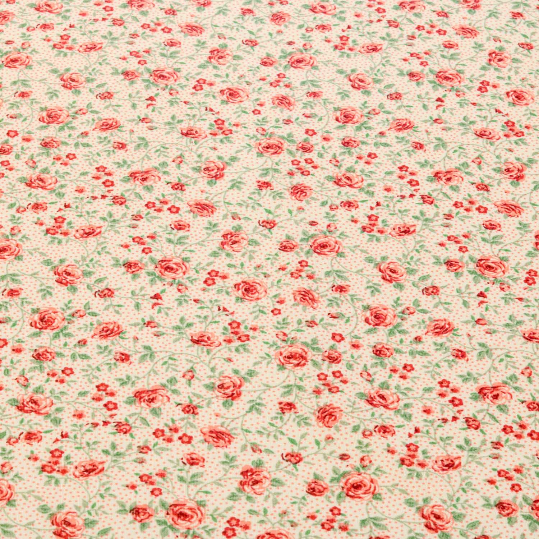 Tecido Tricoline Estampado Flores 1 Metro x 1,40 Mt Salmao
