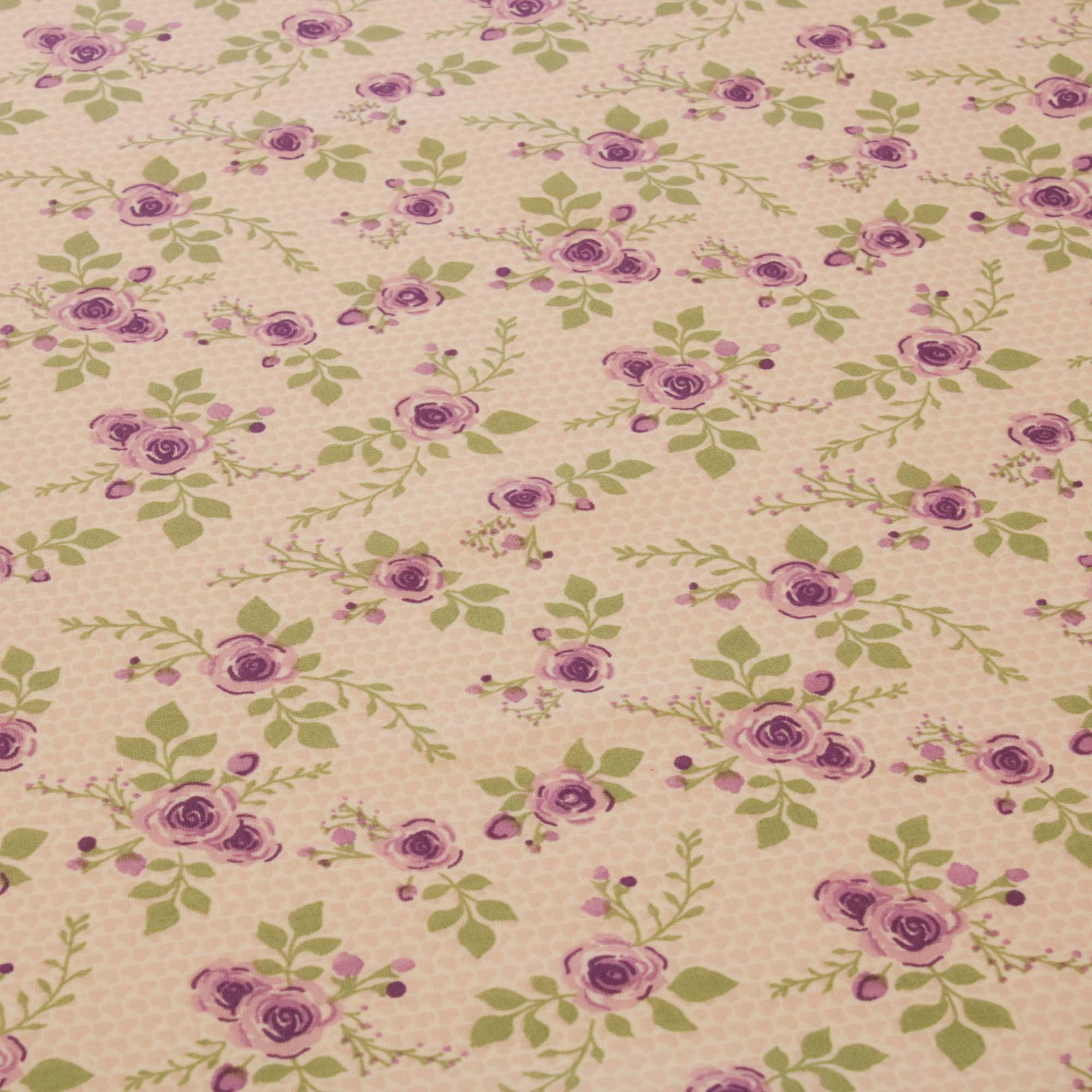 Tecido tricoline estampado flores lilas 1,40 m largura