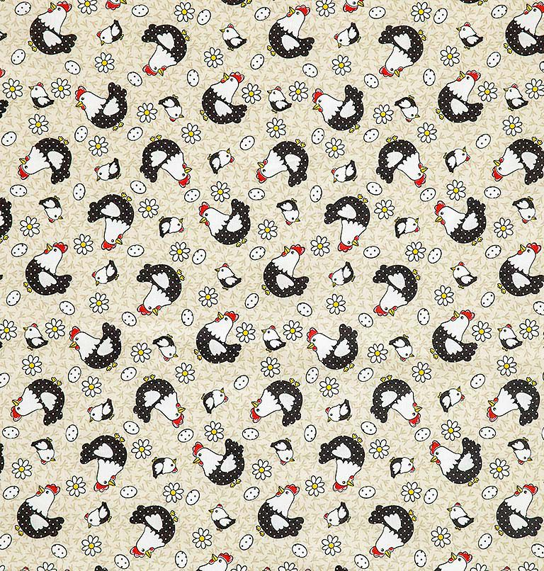 Tecido tricoline estampado dohler 100% algodão galinhas