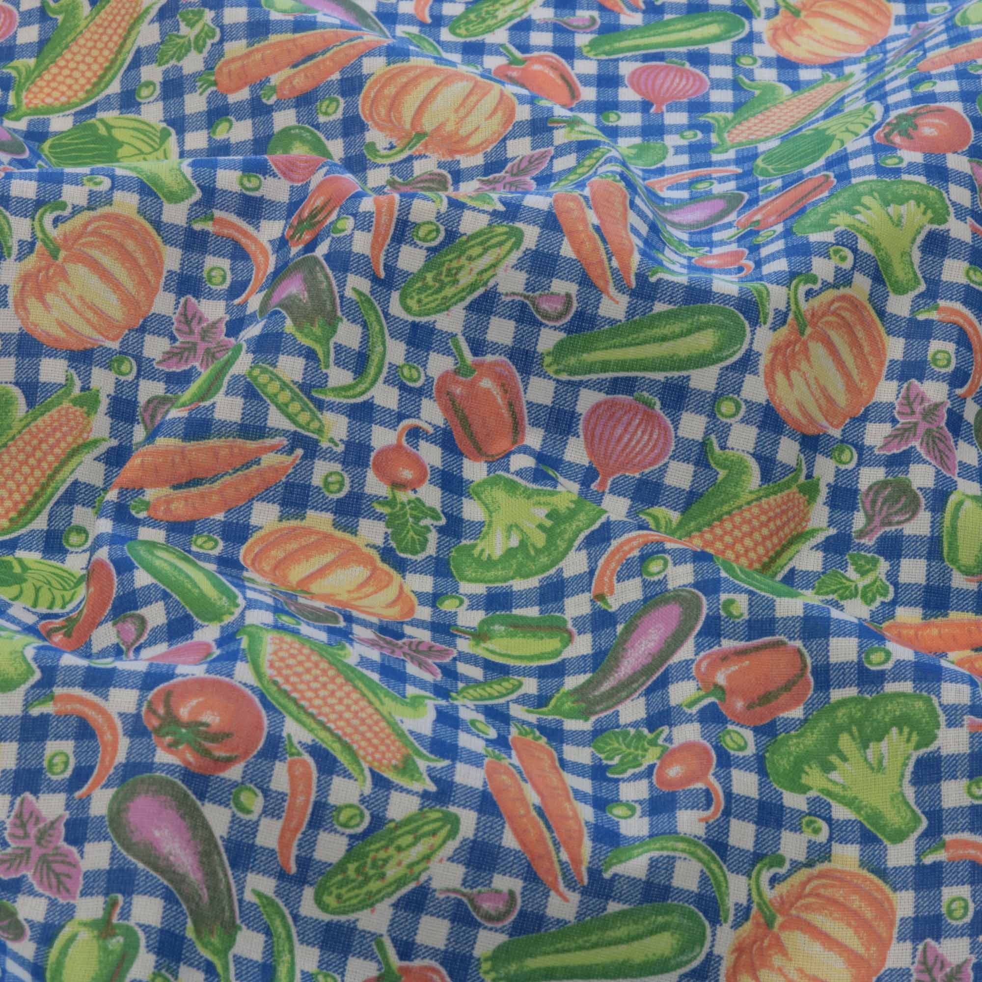 Tecido tricoline estampado legumes 1,40 m largura azul