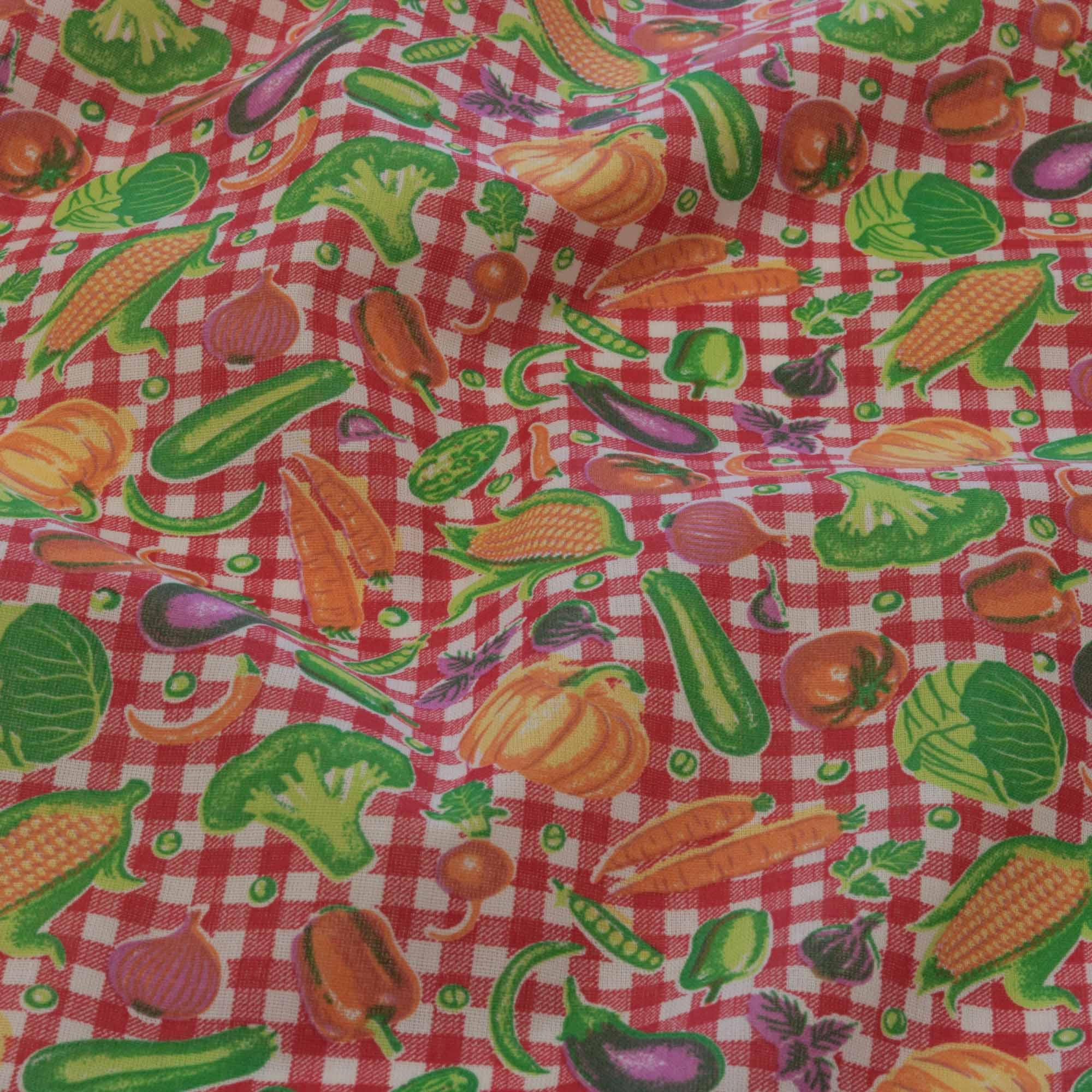 Tecido tricoline estampado legumes 1,40 m largura vermelho