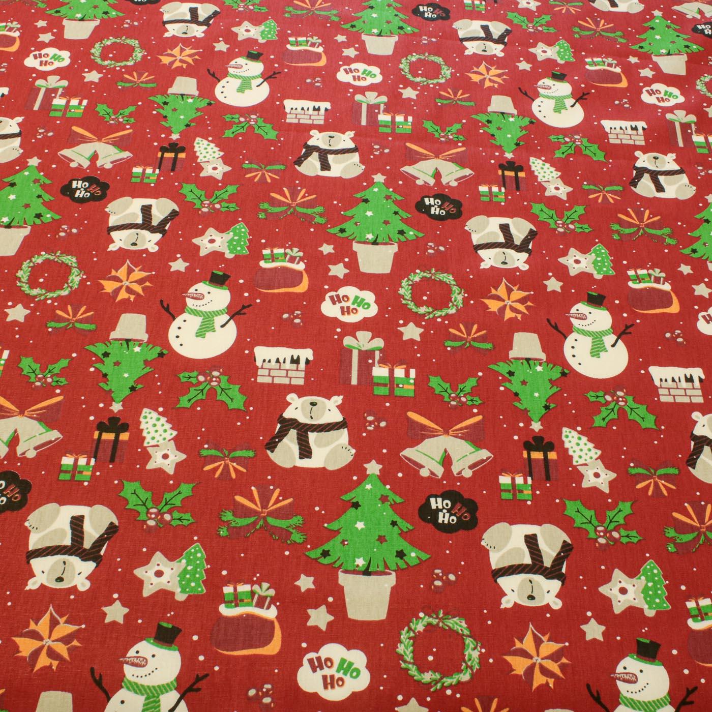 Tecido Tricoline Estampado Natal Boneco De Neve 100 Vermelho