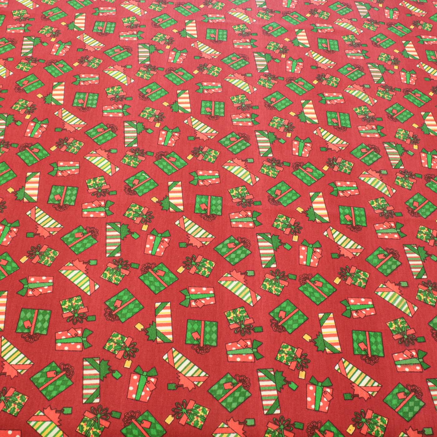 Tecido Tricoline Estampado Natal Presentes Vermelho Marsalla