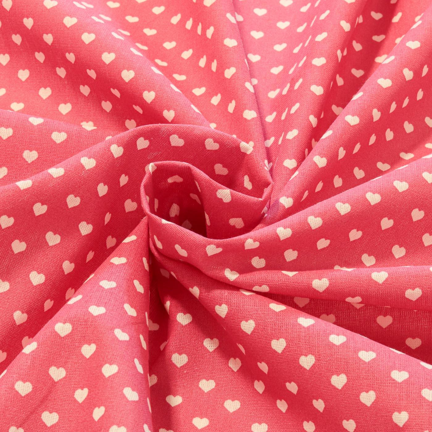 Tecido Tricoline Estampado Patchwork Coração Rosa Pink