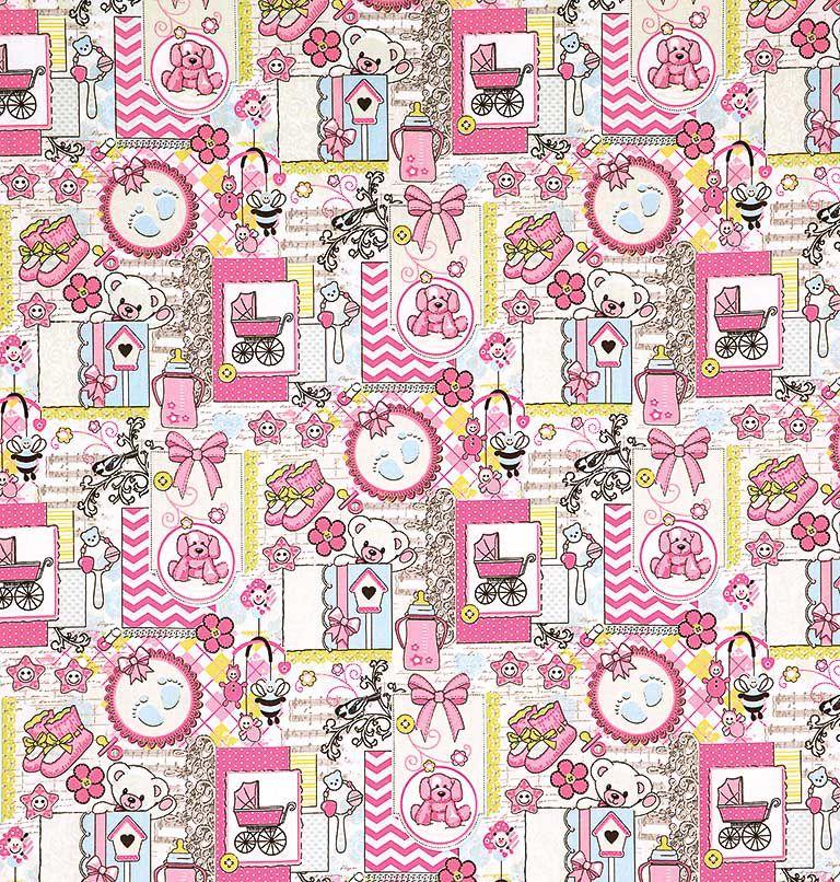 Tecido tricoline estampado patchwork dohler 100% algodão bebe rosa/cd