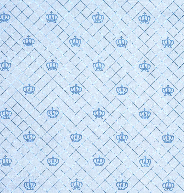 Tecido tricoline estampado coroa azul dohler 100% algodão