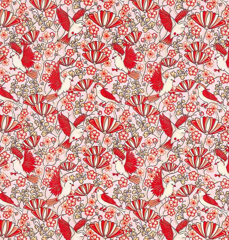 Tecido tricoline estampado patchwork dohler 100% algodão passaro vermelho