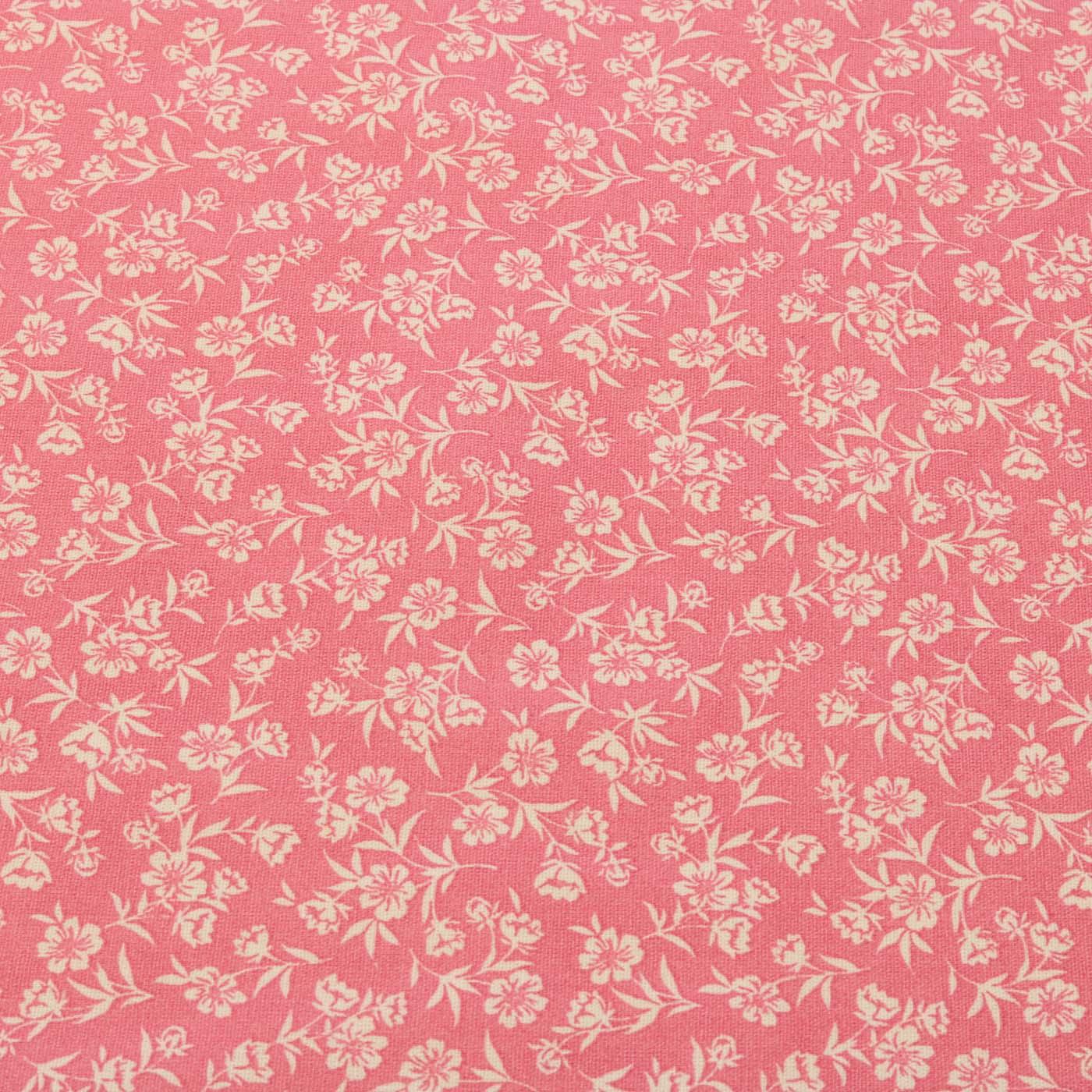 Tecido Tricoline Estampado Patchwork Floral Rosa Chiclete