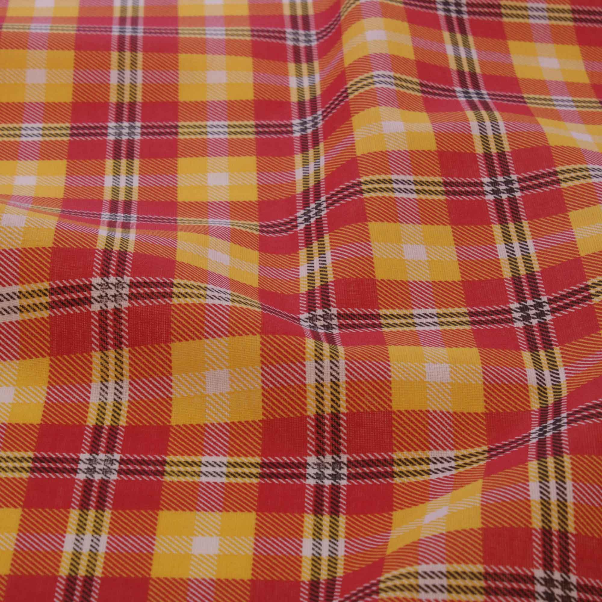 Tecido tricoline estampado xadrez 1,40 m largura amarelo