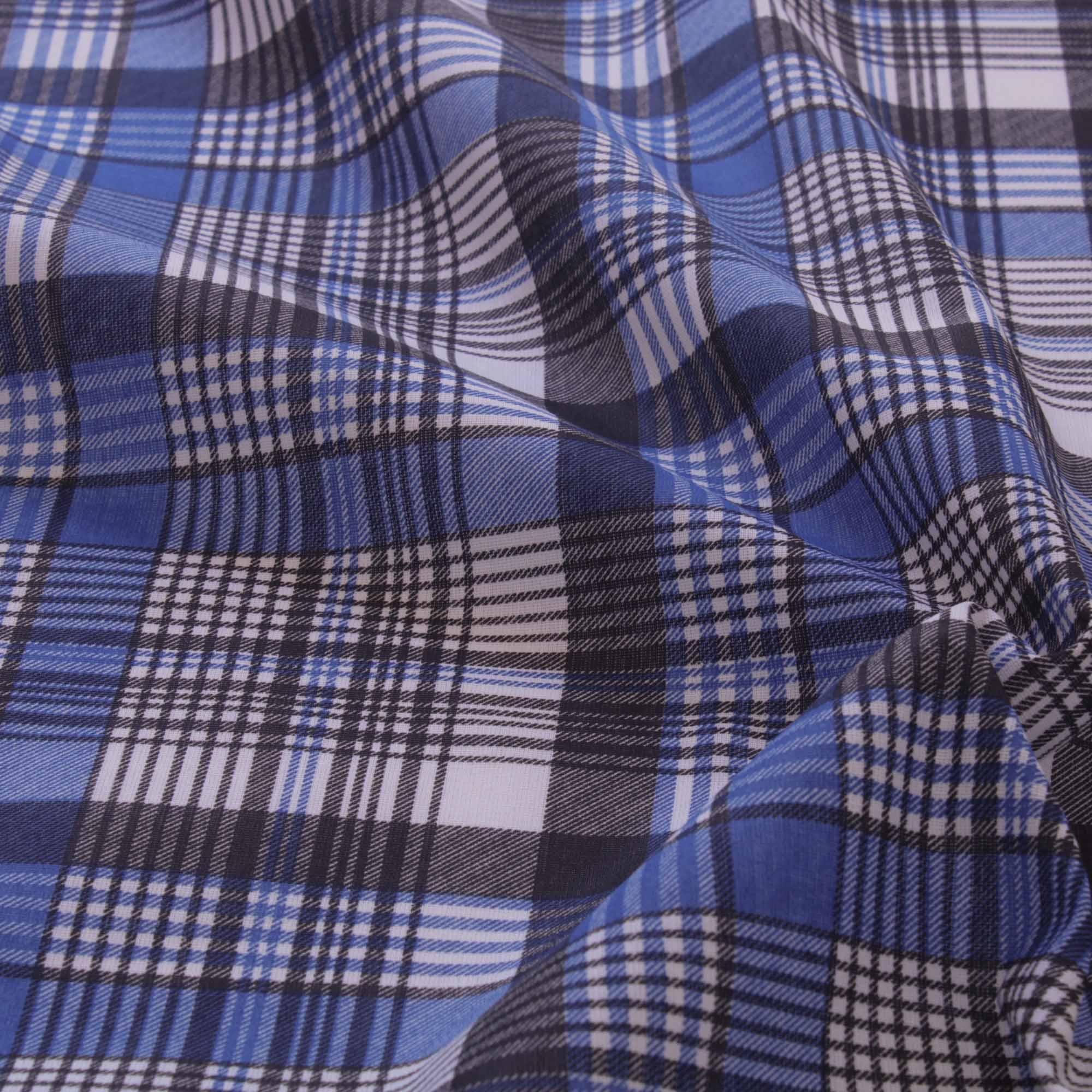 Tecido tricoline estampado xadrez 1,40 m largura azul royal