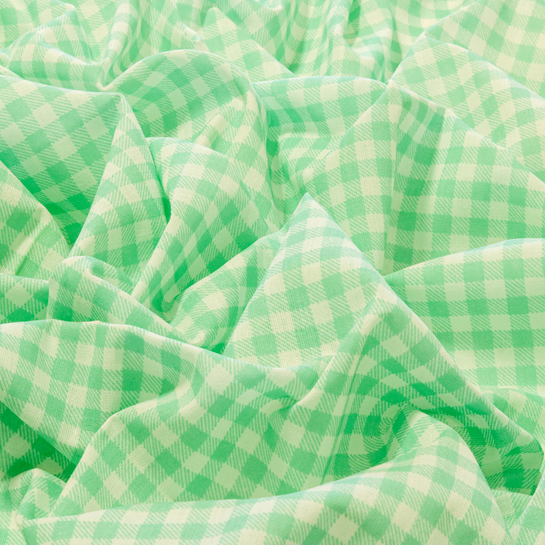 Tecido Tricoline Estampado Xadrez 1 Metro x1,40Mt Verde Água