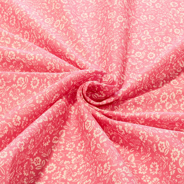 Tecido Tricoline Floral 1 Metro x 1,40 Mt Rosa