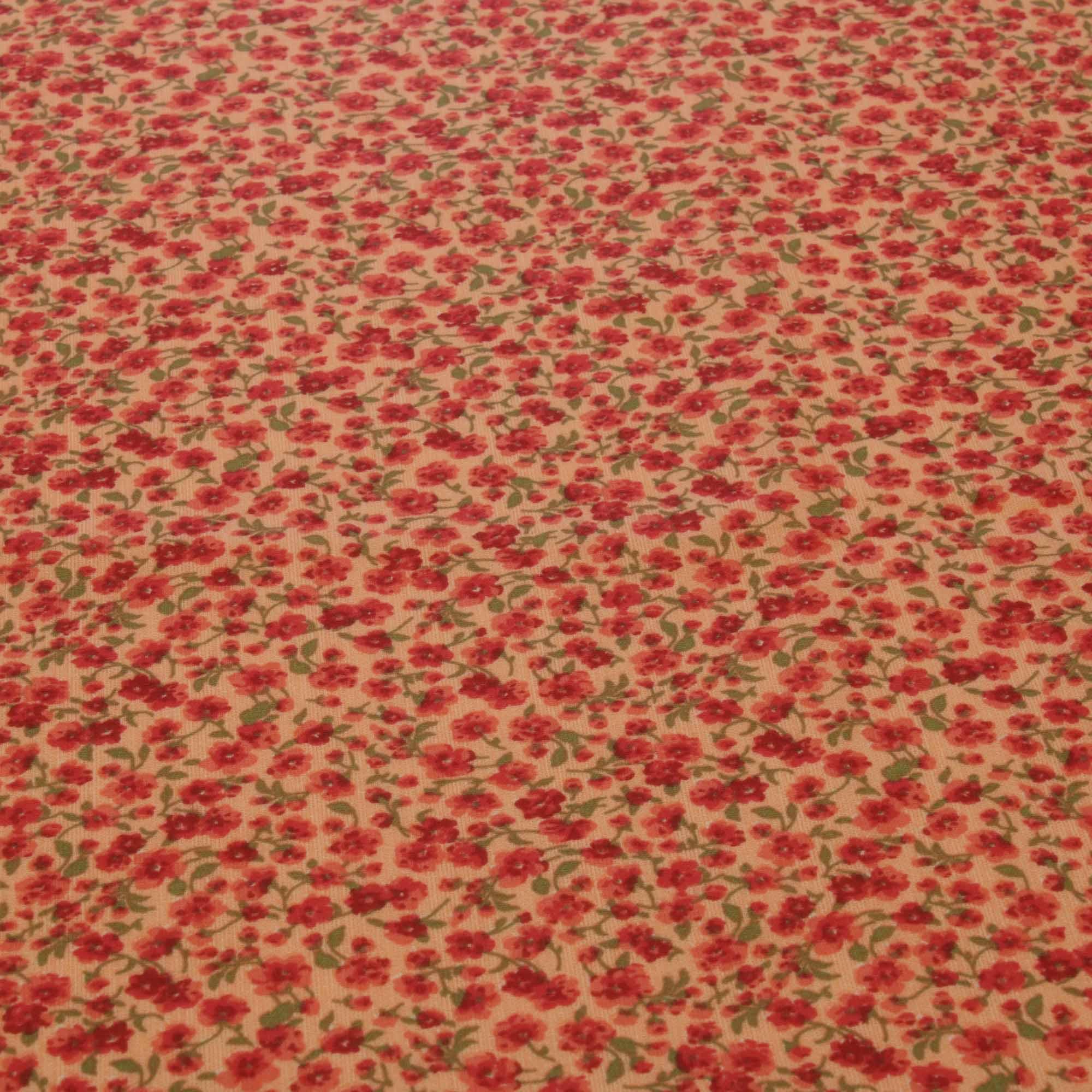 Tecido tricoline flores miudas 1,40 m largura vermelho/laranja