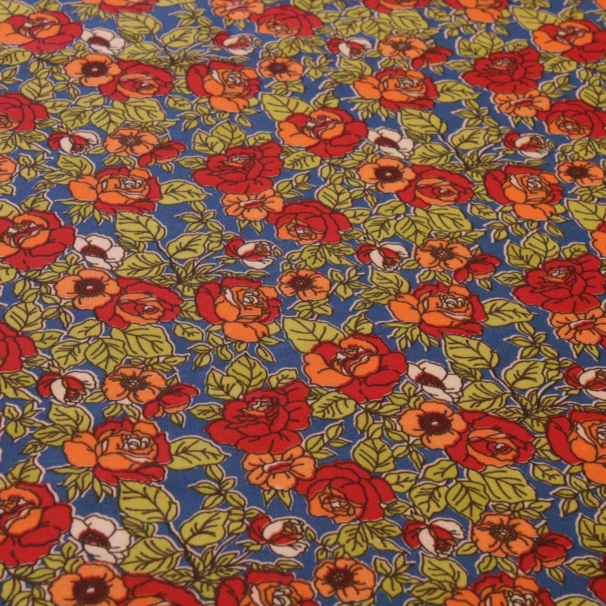 Tecido tricoline flores vermelhas 1,40 m largura fundo azul