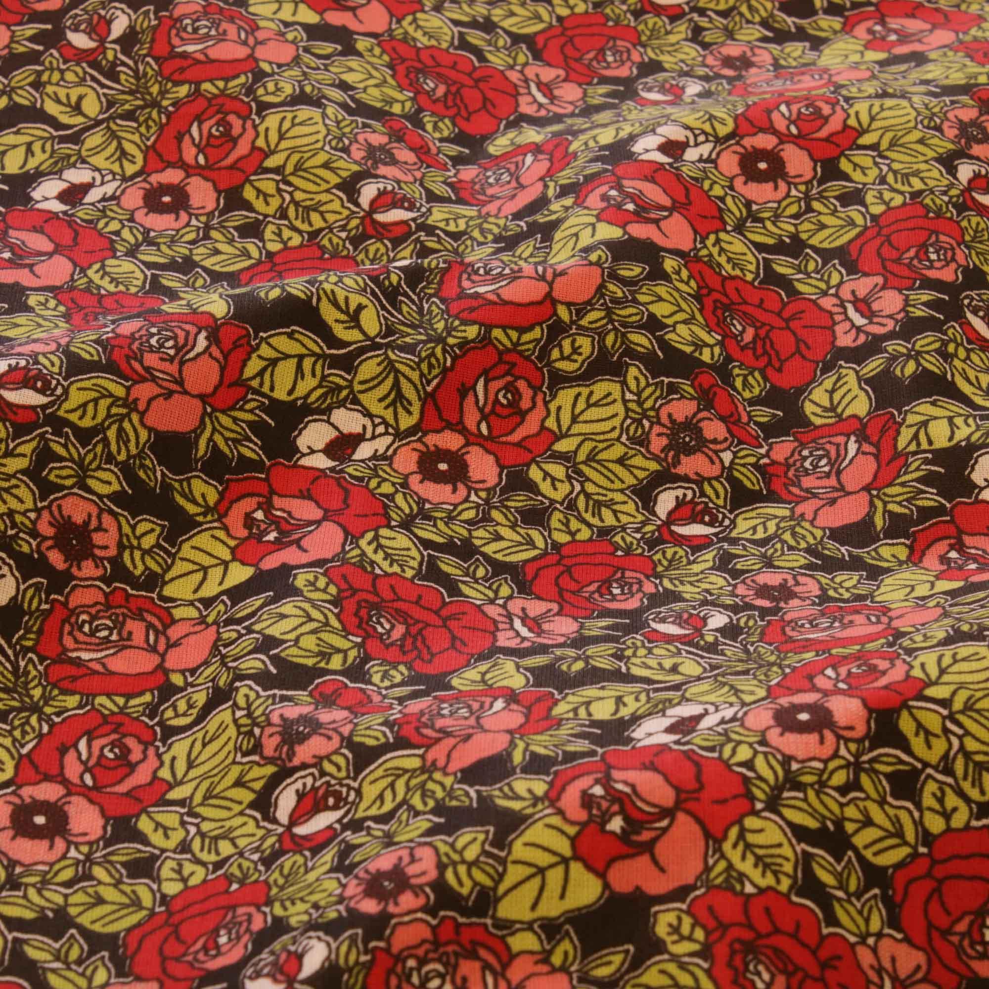 Tecido tricoline flores vermelhas 1,40 m largura fundo preto