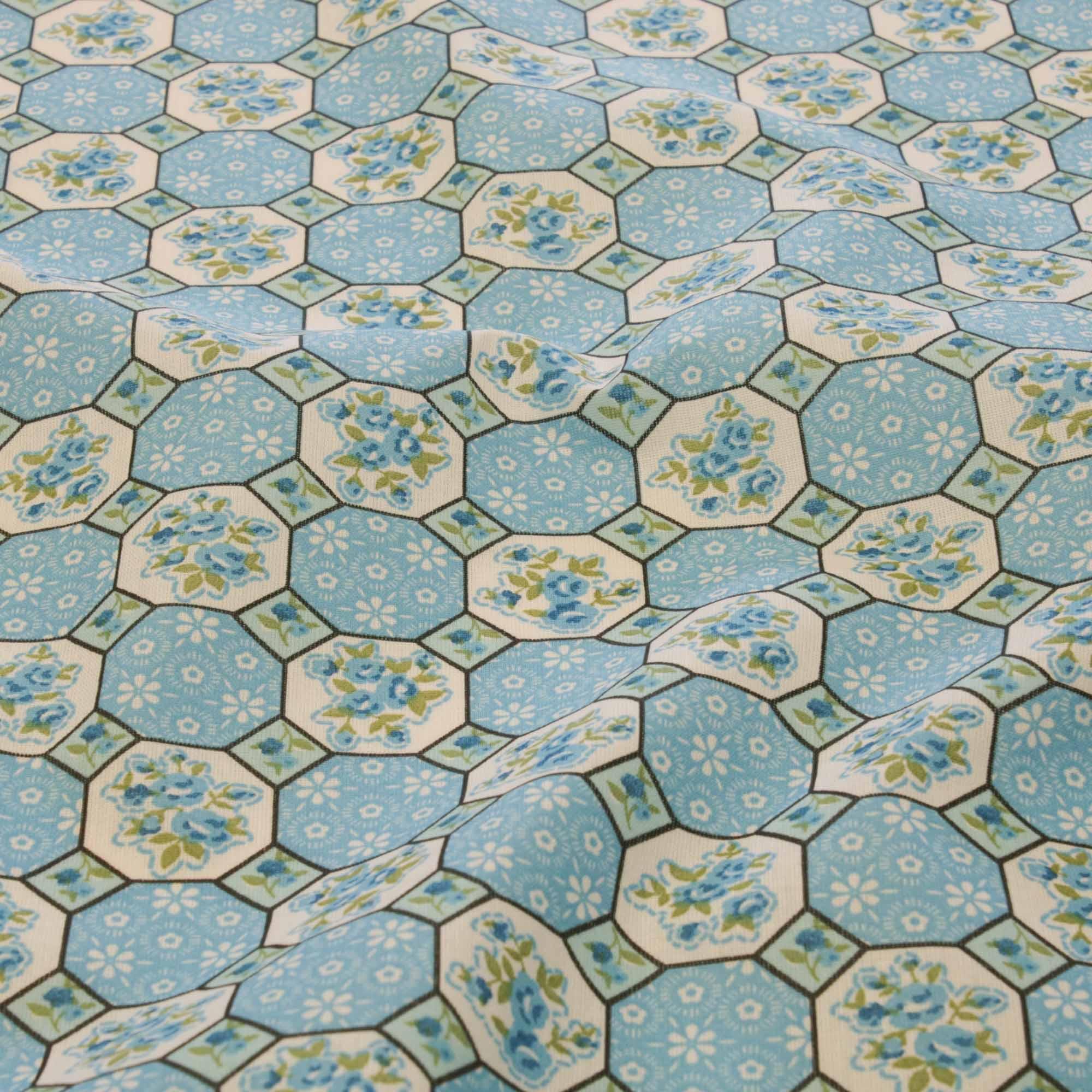 Tecido tricoline geometrico 1,40 m largura azul
