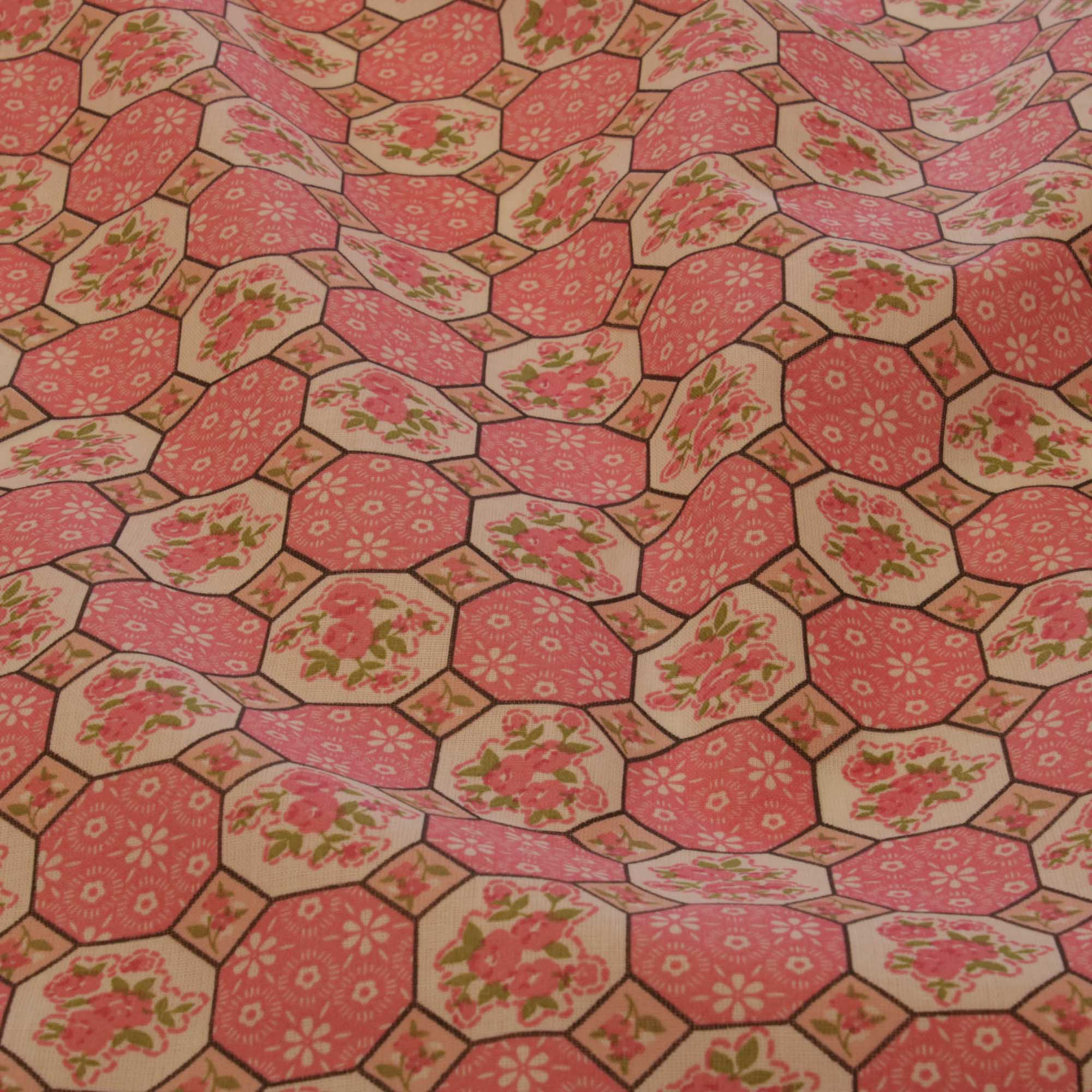 Tecido tricoline geometrico 1,40 m largura rosa