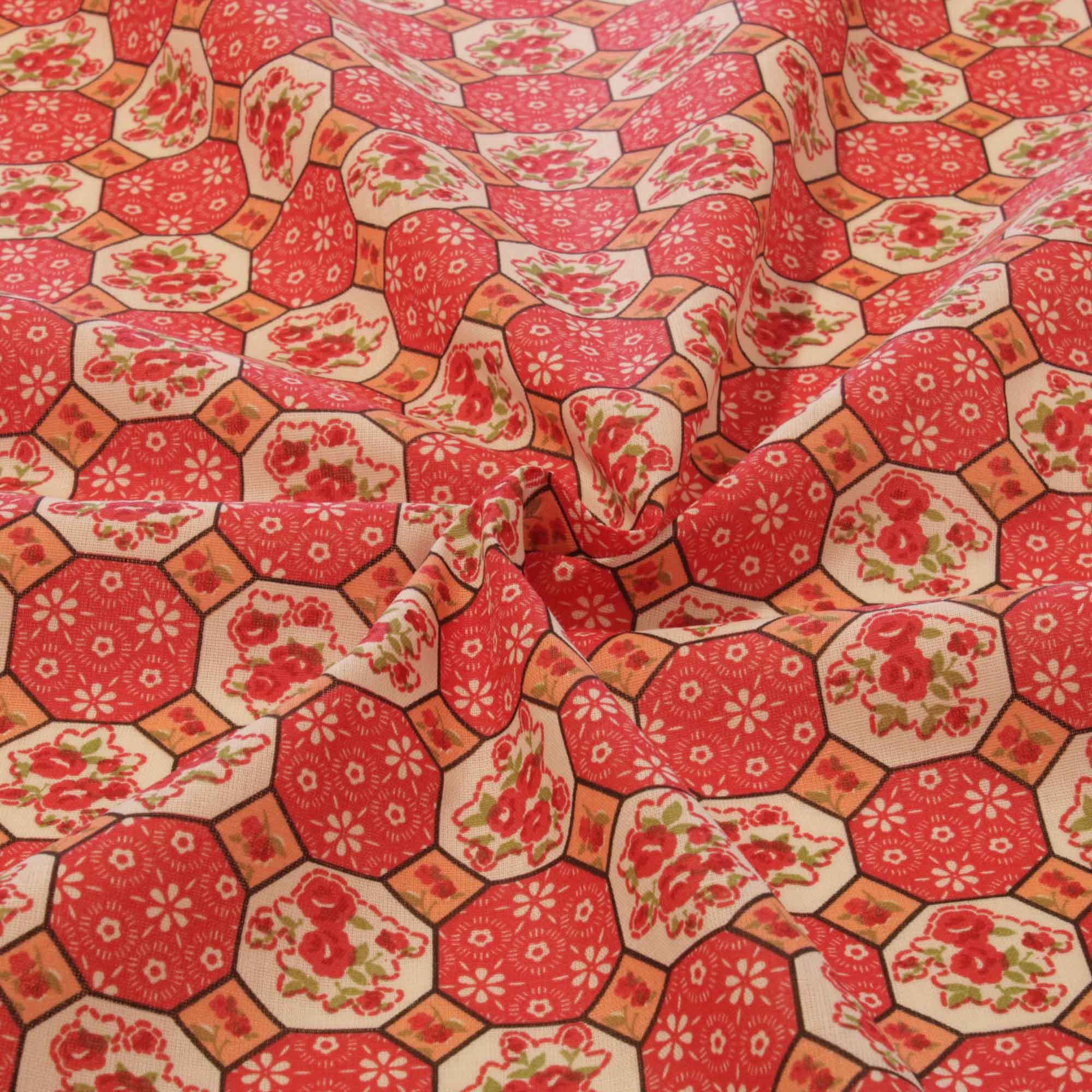 Tecido tricoline geometrico 1,40 m largura vermelho