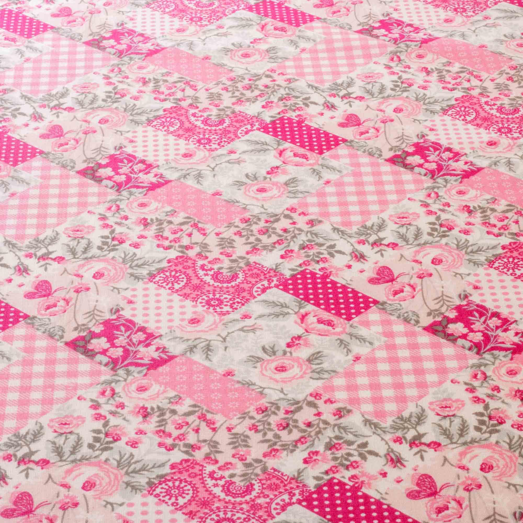 Tecido Tricoline Estampado Floral 1,40 Mt Largura Rosa