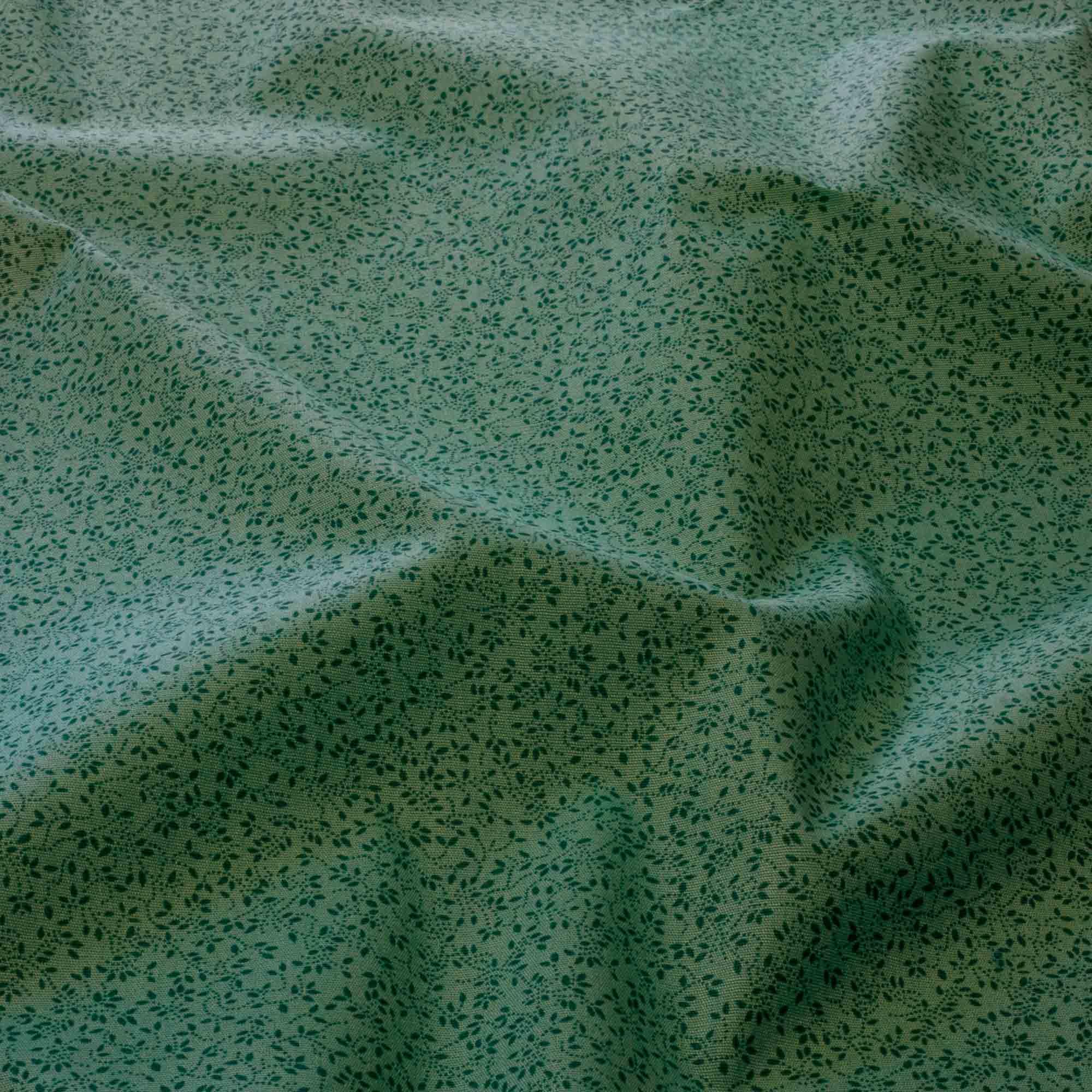 Tecido Tricoline Estampado Folhas Miúdas 1,40 Mt Largura Verde