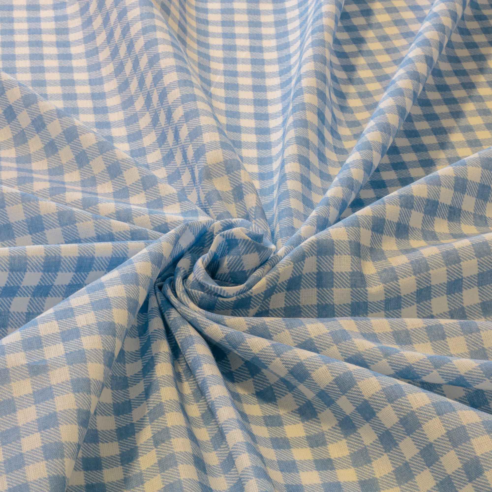 Tecido Tricoline Estampado Xadrez 1,40 Mt Largura Azul
