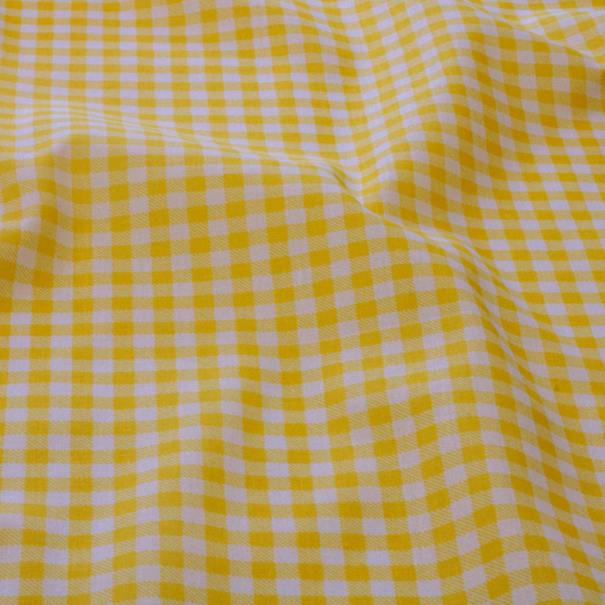 Tecido tricoline misto estampado xadrez amarelo 1,40 Mt Largura