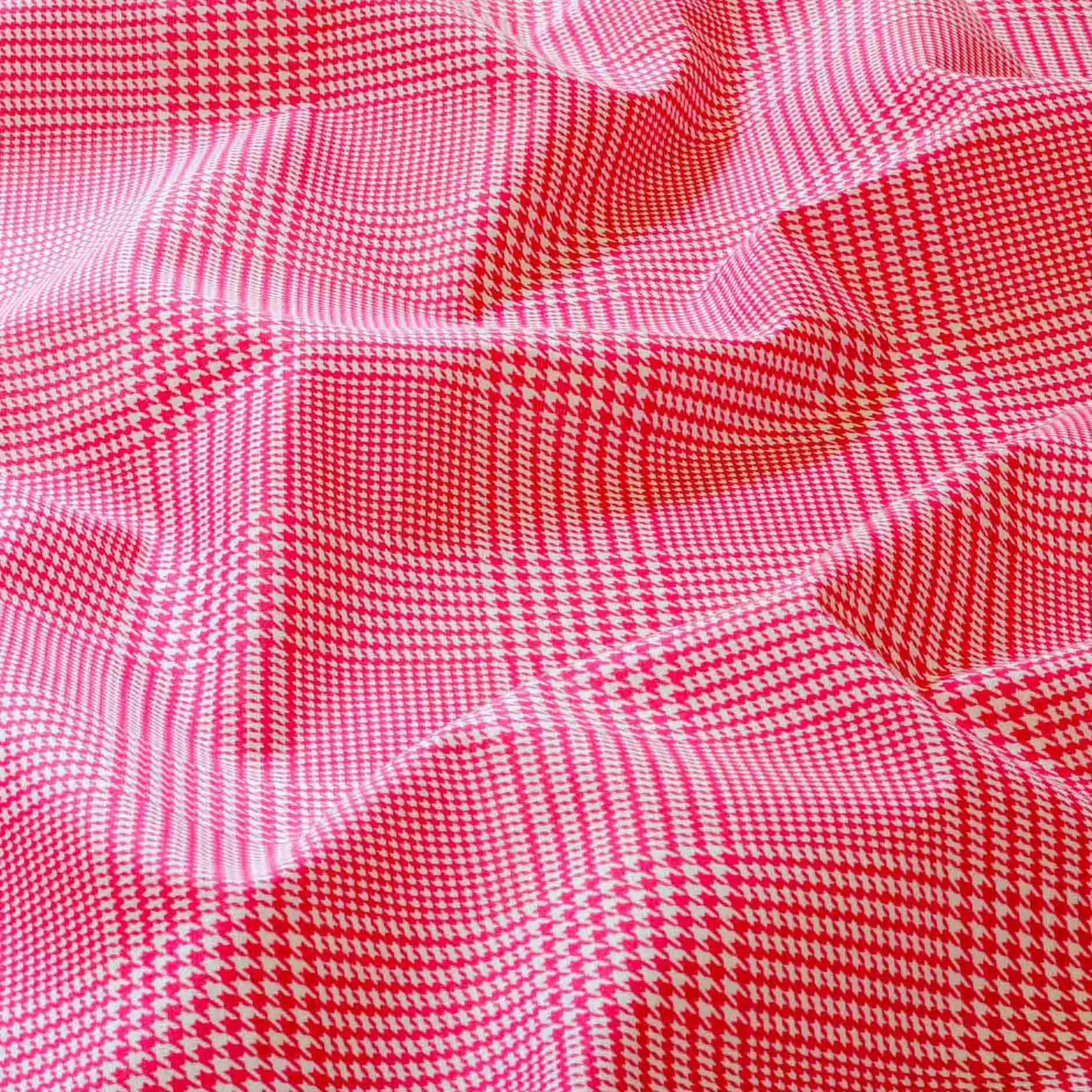 Tecido Tricoline Misto Estampado Xadrez Rosa 50% Algodao 50% Poliester 1,40 m Largura